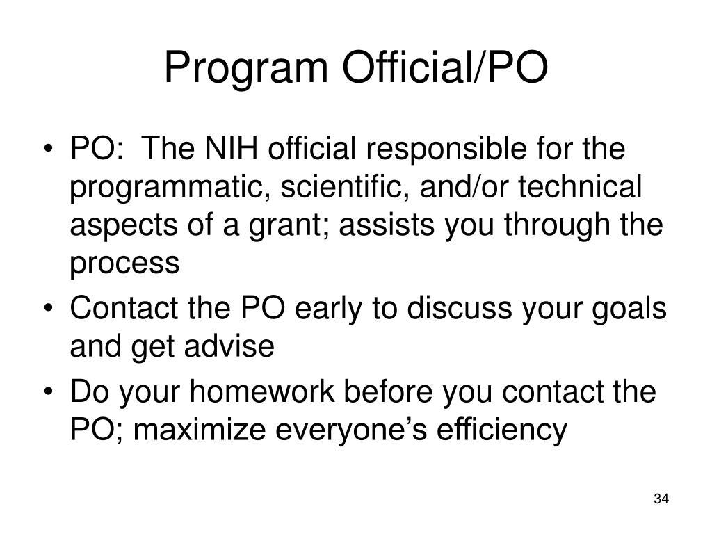 Program Official/PO