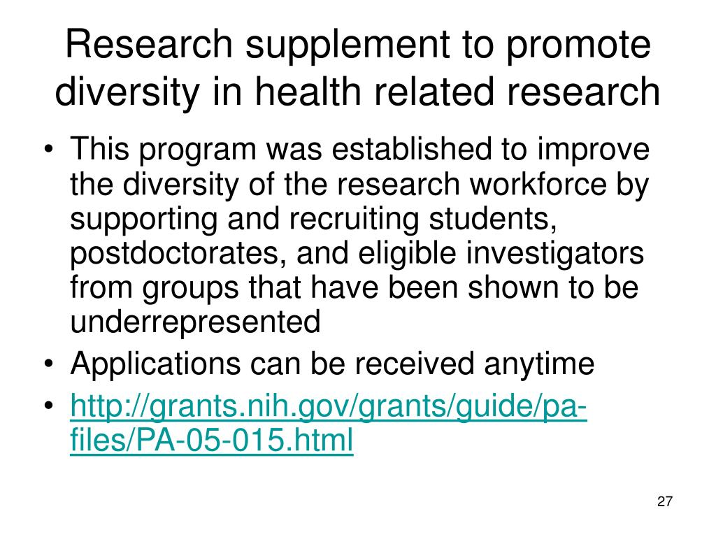 Research supplement to promote diversity in health related research