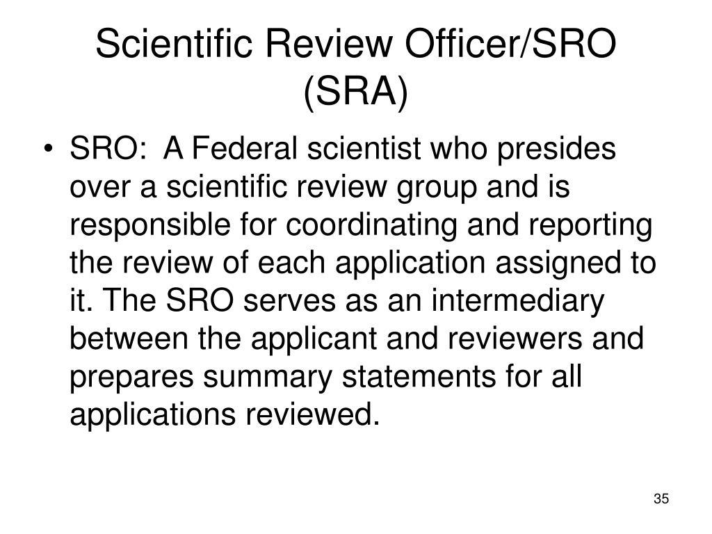 Scientific Review Officer/SRO (SRA)