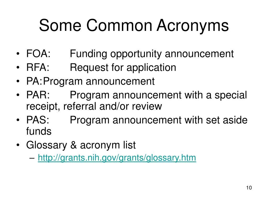Some Common Acronyms