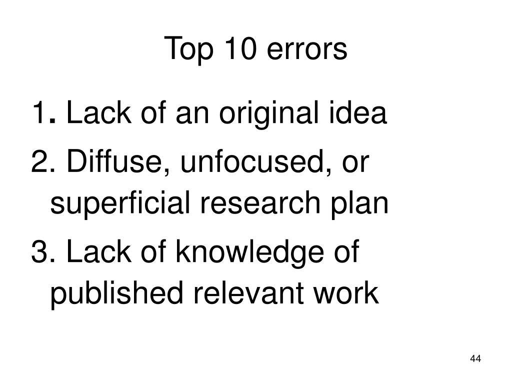 Top 10 errors