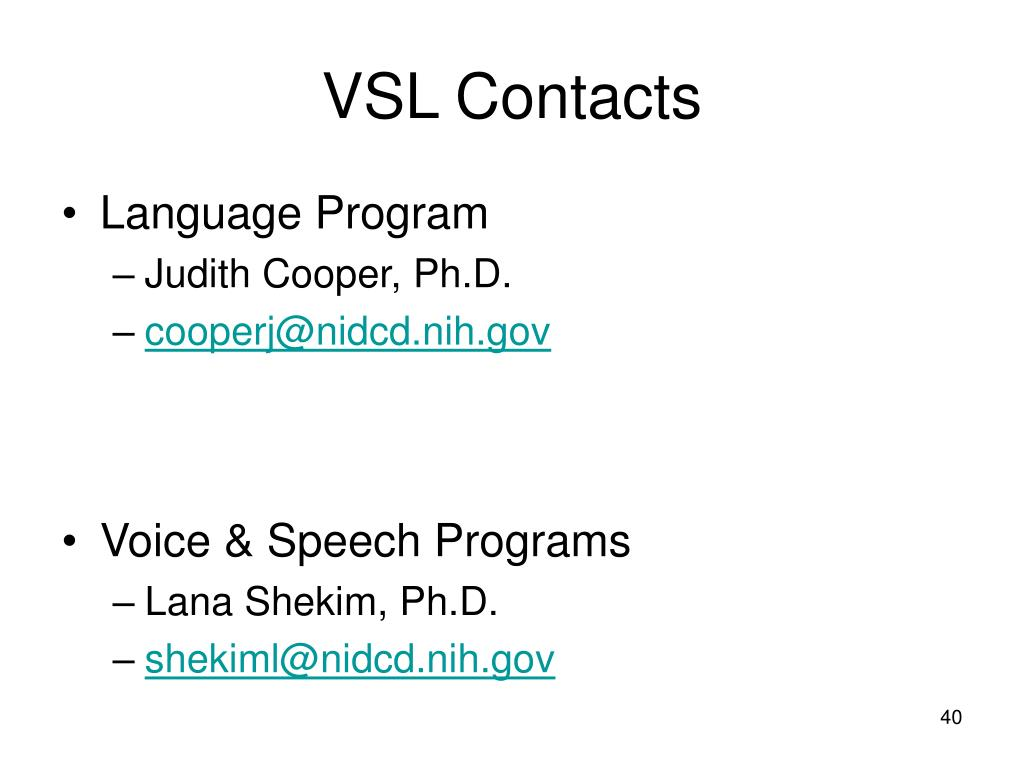 VSL Contacts