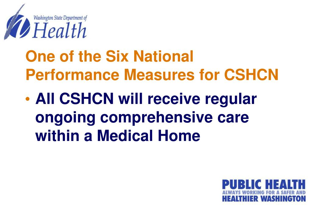 One of the Six National Performance Measures for CSHCN