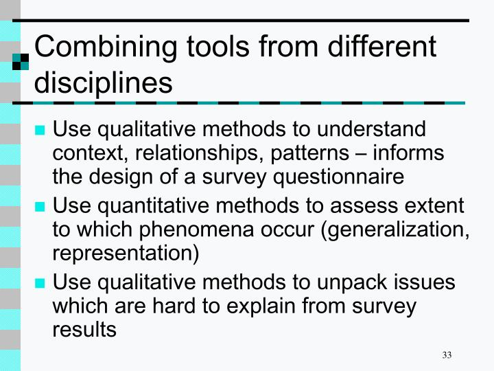 Combining tools from different disciplines