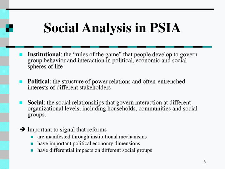 Social analysis in psia1