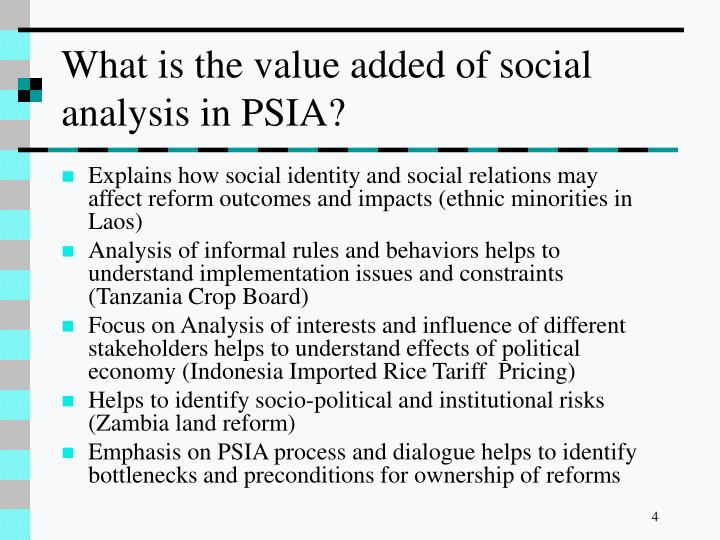 What is the value added of social analysis in PSIA?