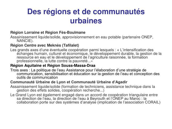 Des régions et de communautés urbaines