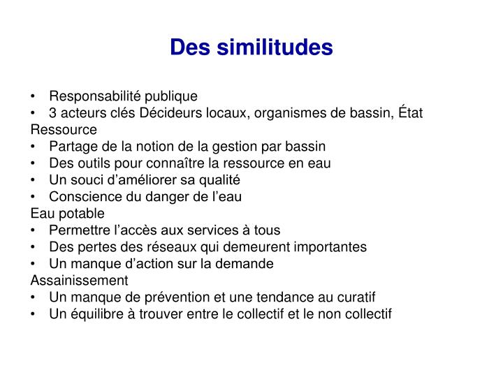 Des similitudes