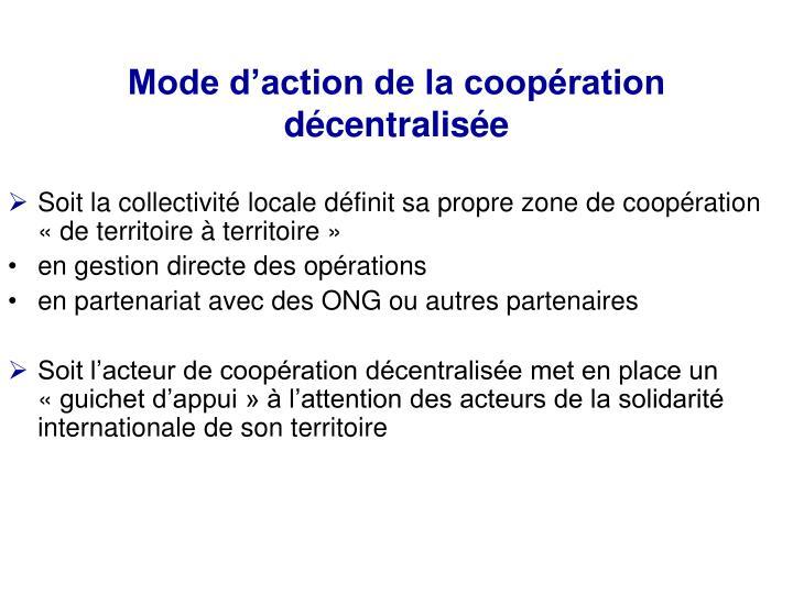 Mode d'action de la coopération décentralisée