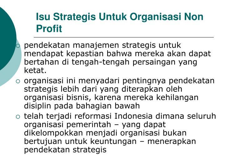 Isu Strategis Untuk Organisasi Non Profit