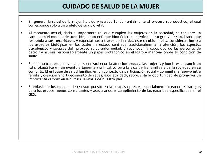 CUIDADO DE SALUD DE LA MUJER