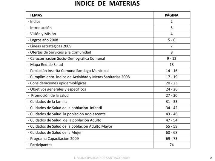 INDICE  DE  MATERIAS