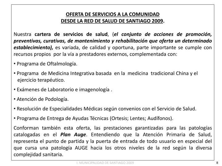 OFERTA DE SERVICIOS A LA COMUNIDAD