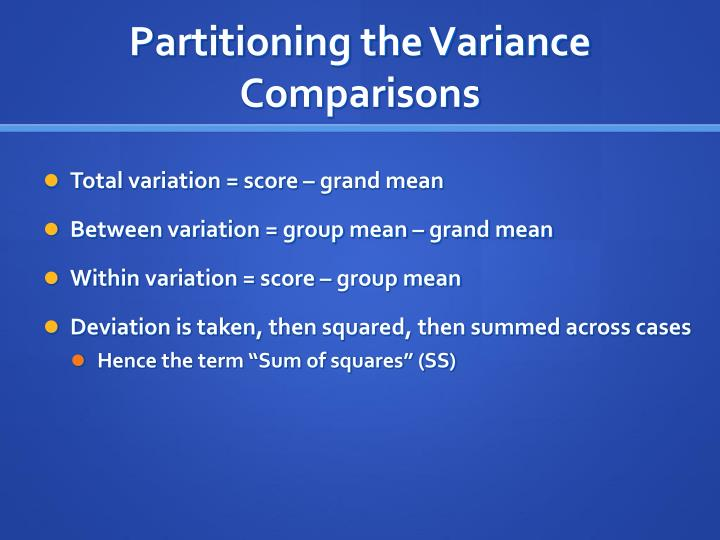 Partitioning the Variance Comparisons