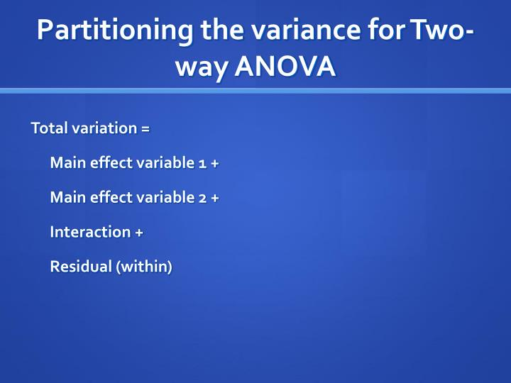 Partitioning the variance for Two-way ANOVA
