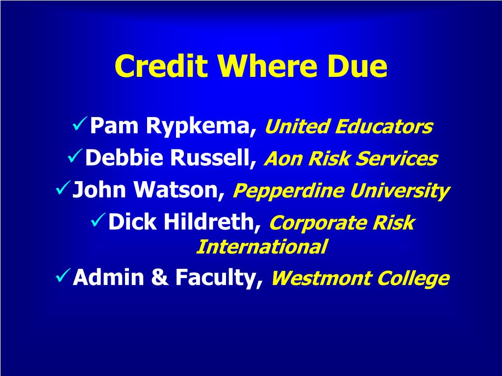 Credit Where Due