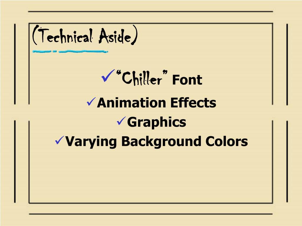 (Technical Aside)
