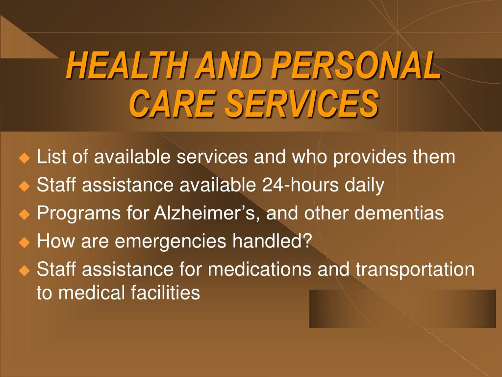 HEALTH AND PERSONAL CARE SERVICES