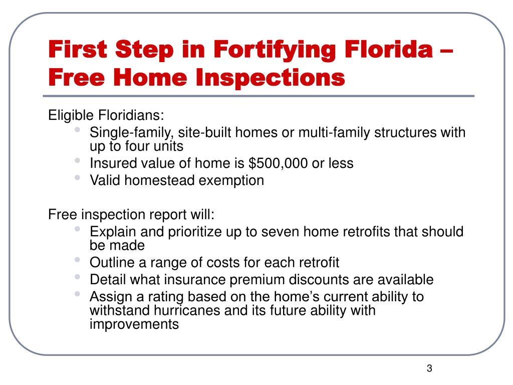 First Step in Fortifying Florida – Free Home Inspections