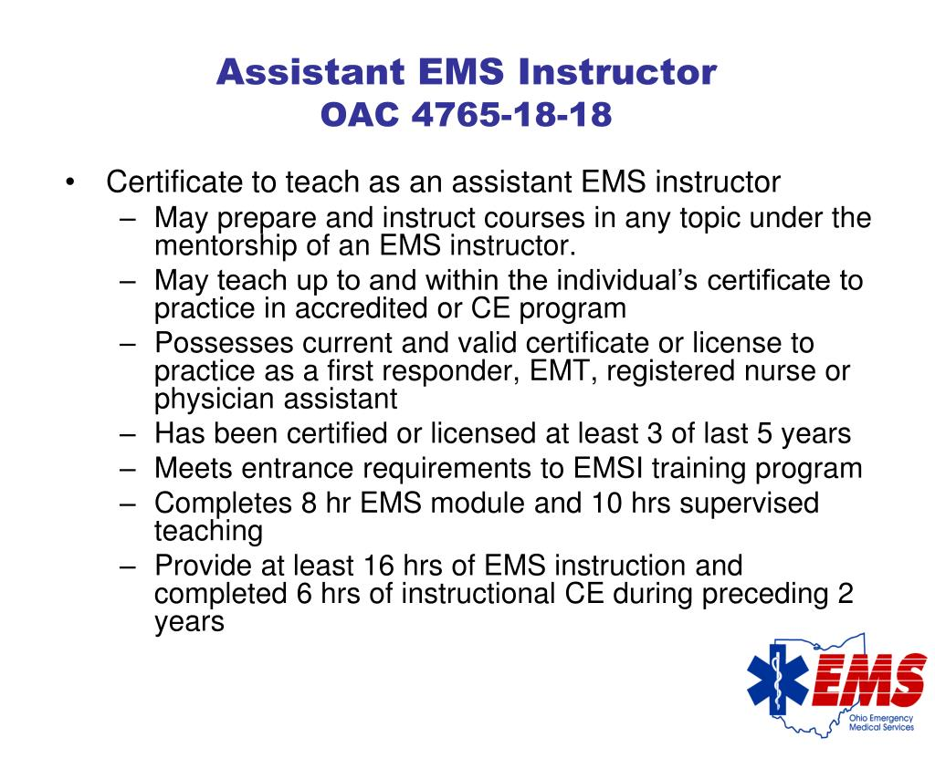 Assistant EMS Instructor