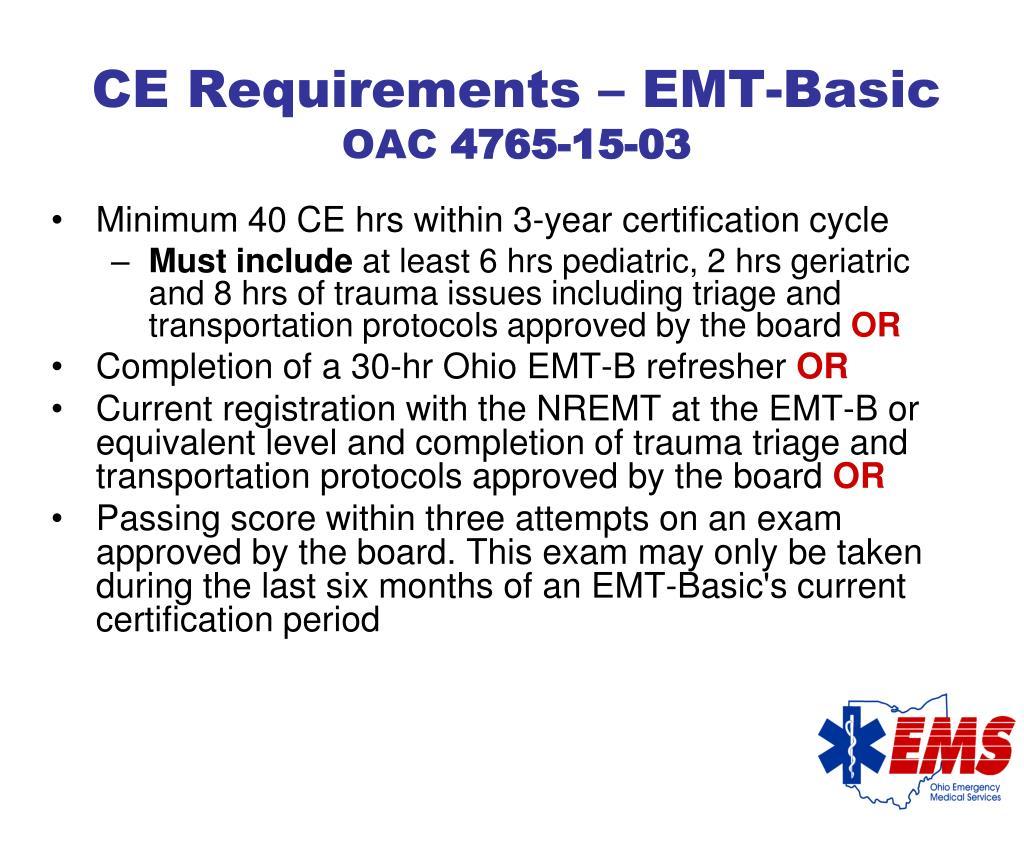 CE Requirements – EMT-Basic