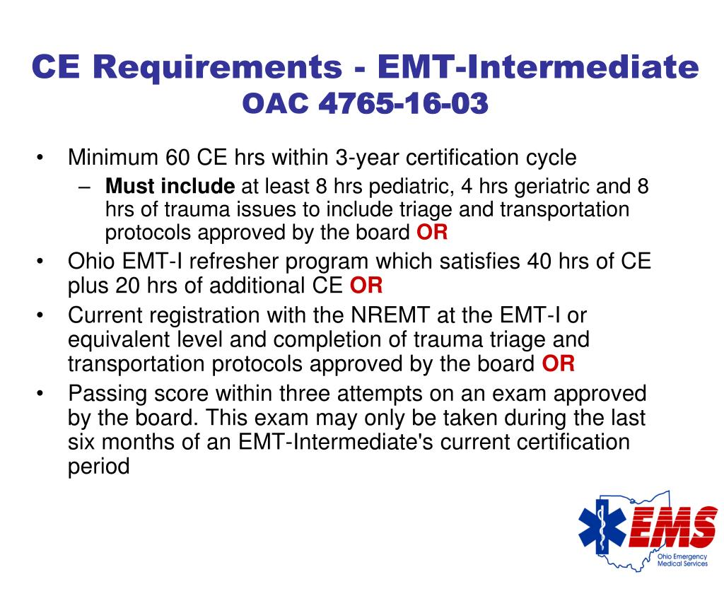 CE Requirements - EMT-Intermediate
