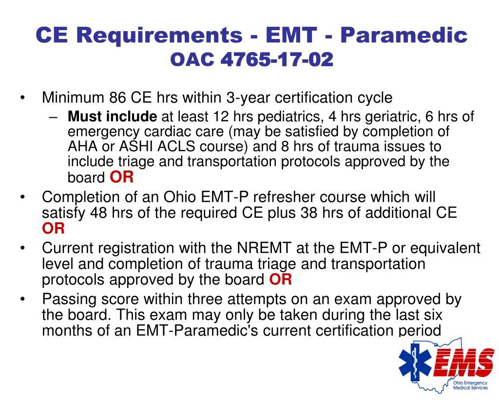 CE Requirements - EMT - Paramedic