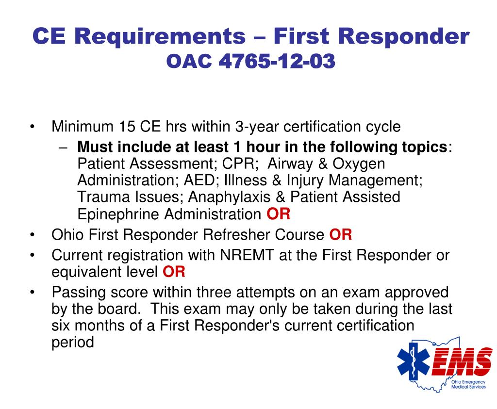 CE Requirements – First Responder