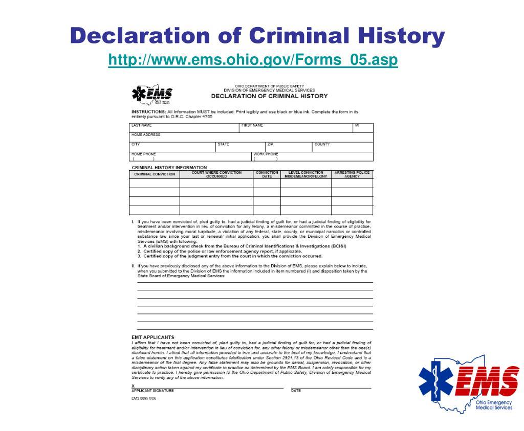 Declaration of Criminal History