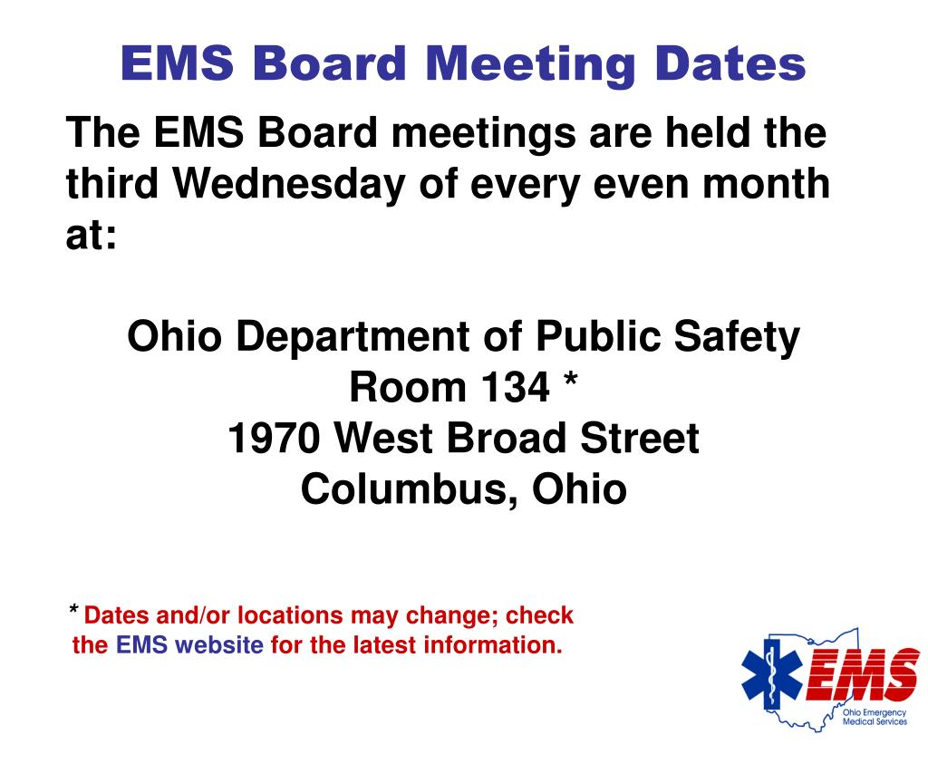 EMS Board Meeting Dates