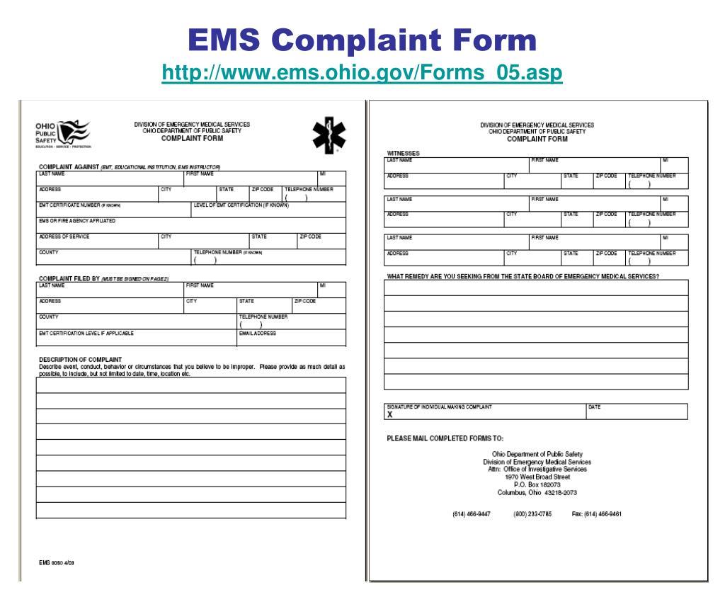 EMS Complaint Form
