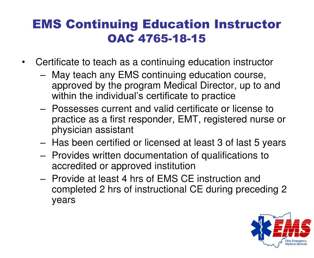 EMS Continuing Education Instructor