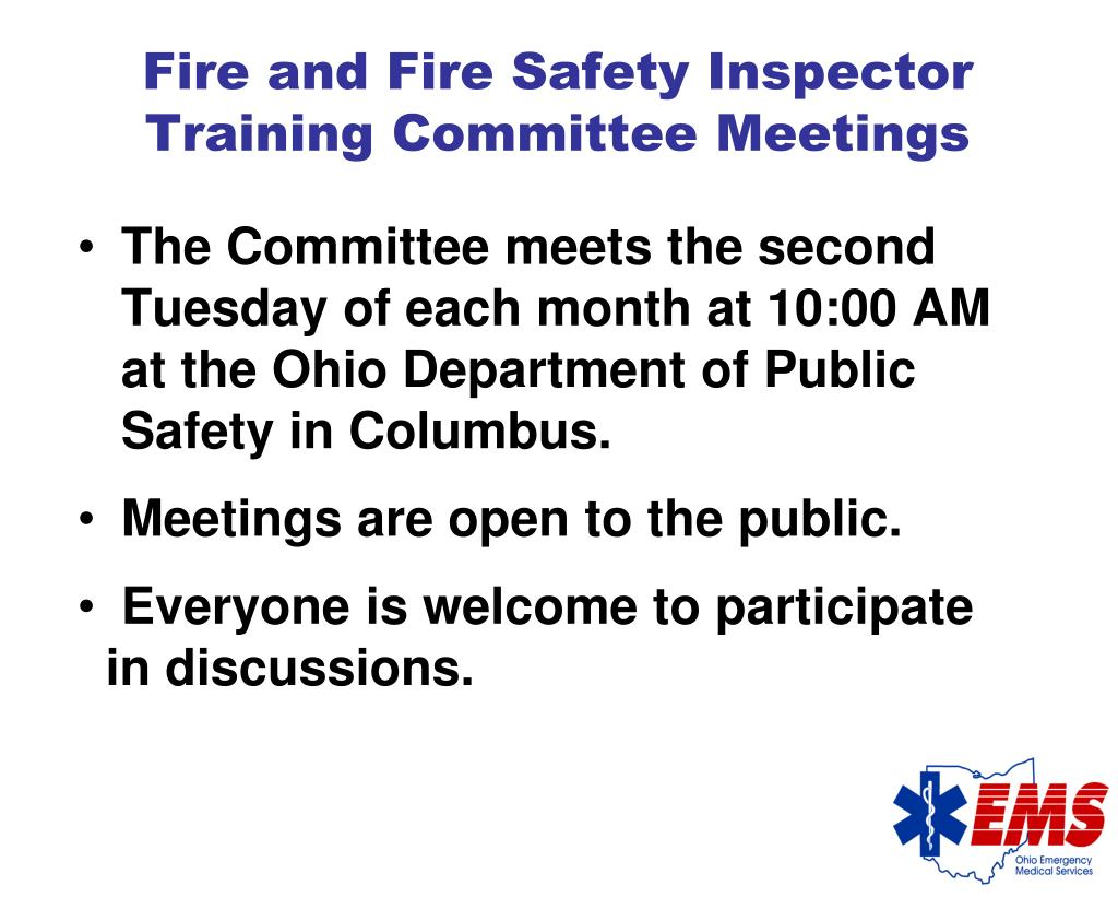 Fire and Fire Safety Inspector Training Committee Meetings