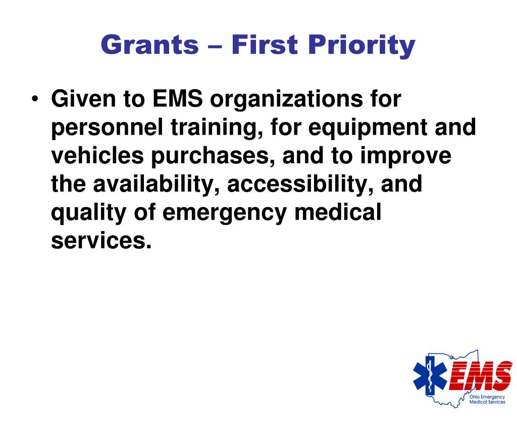 Grants – First Priority