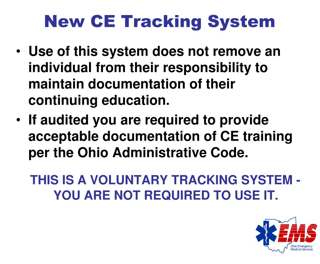 New CE Tracking System