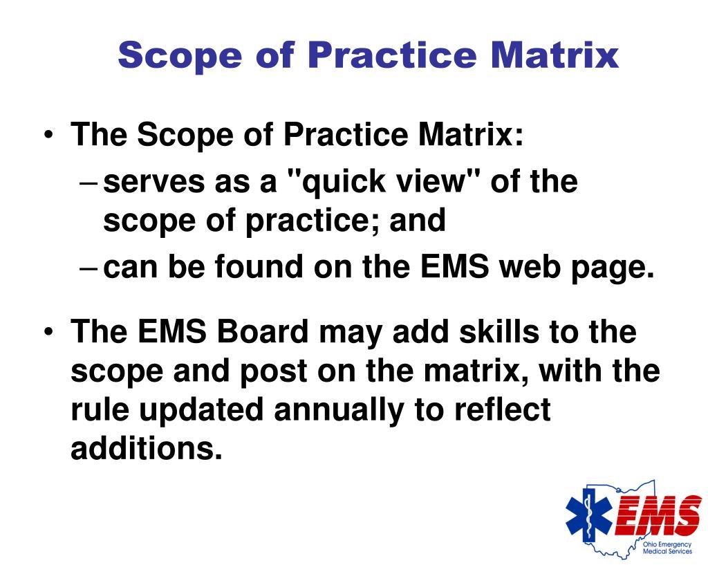 Scope of Practice Matrix