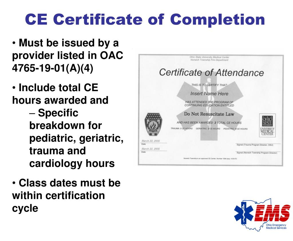 CE Certificate of Completion