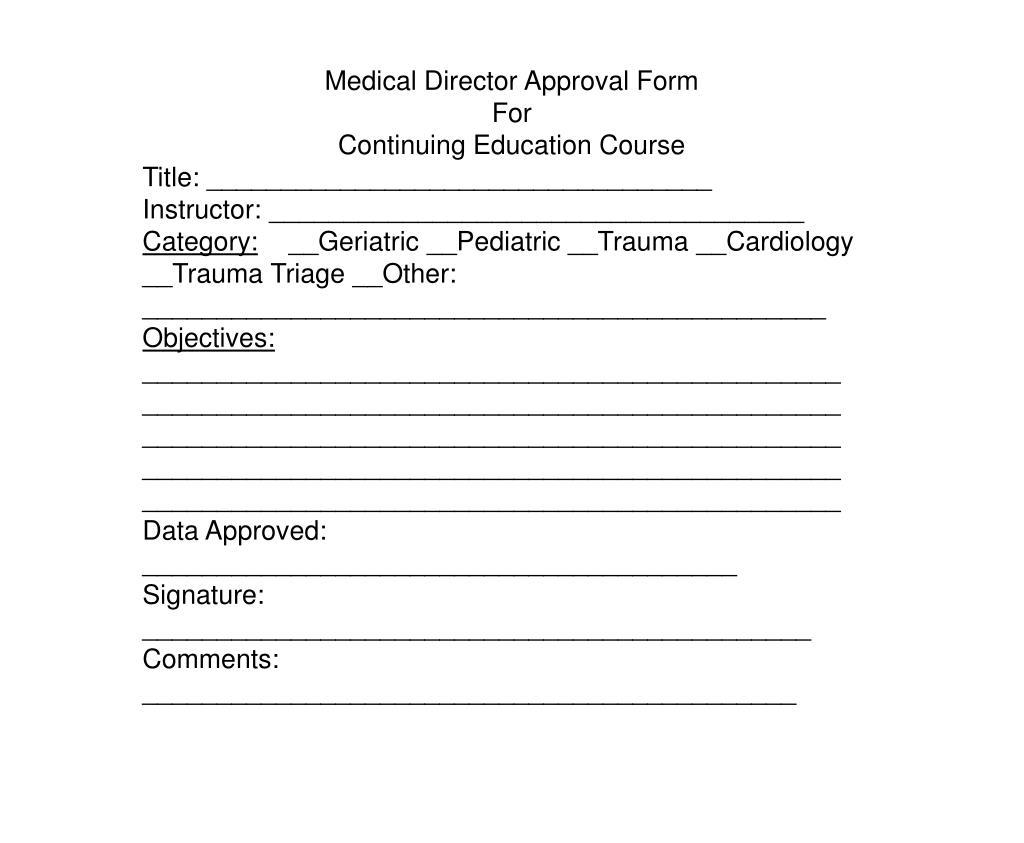 Medical Director Approval Form