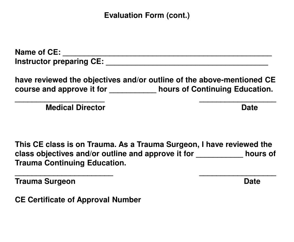 Evaluation Form (cont.)