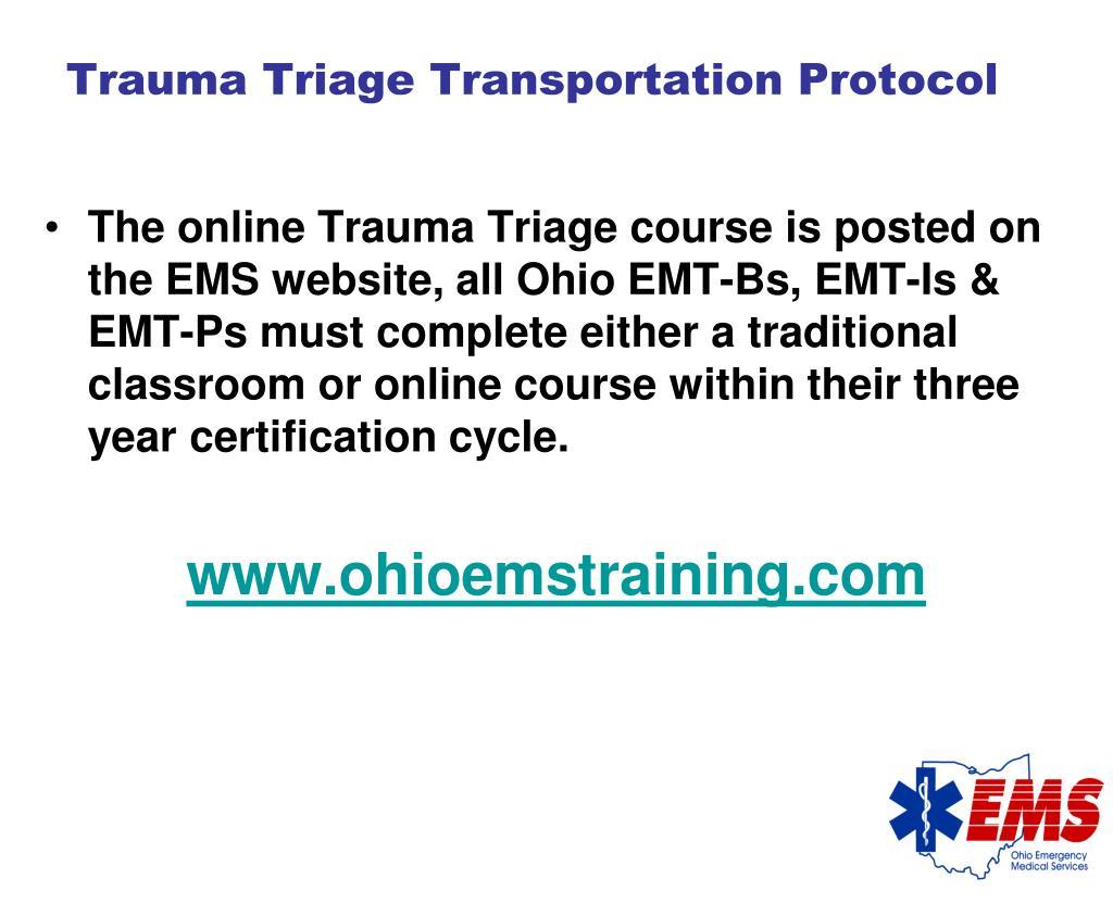 Trauma Triage Transportation Protocol