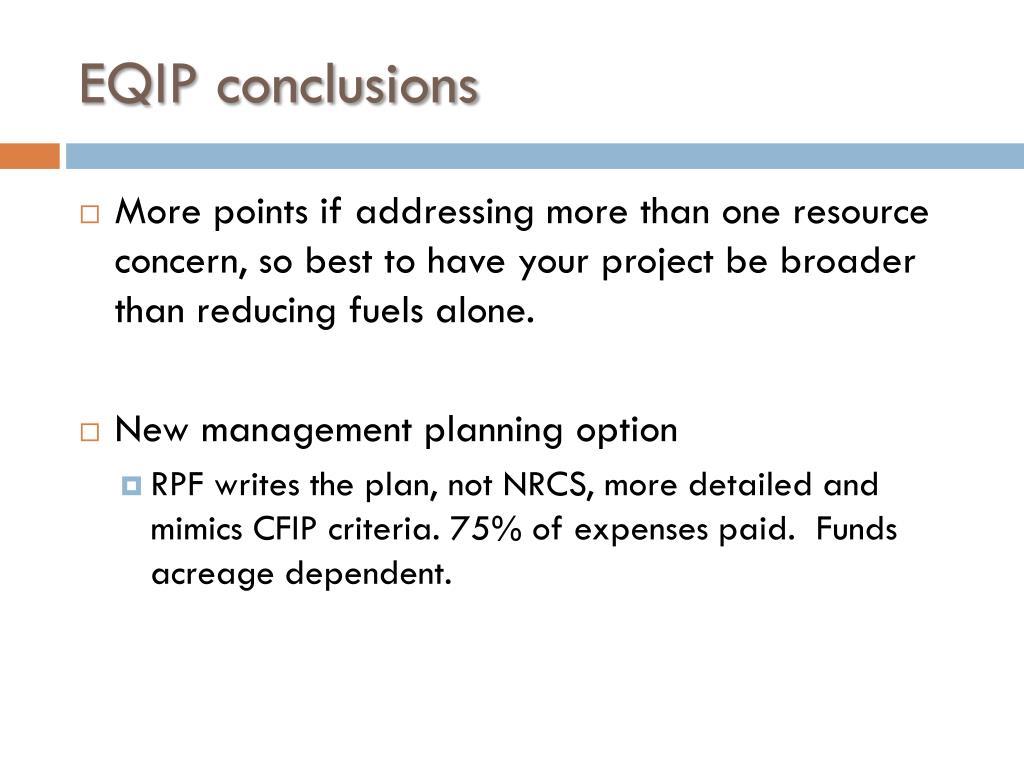 EQIP conclusions
