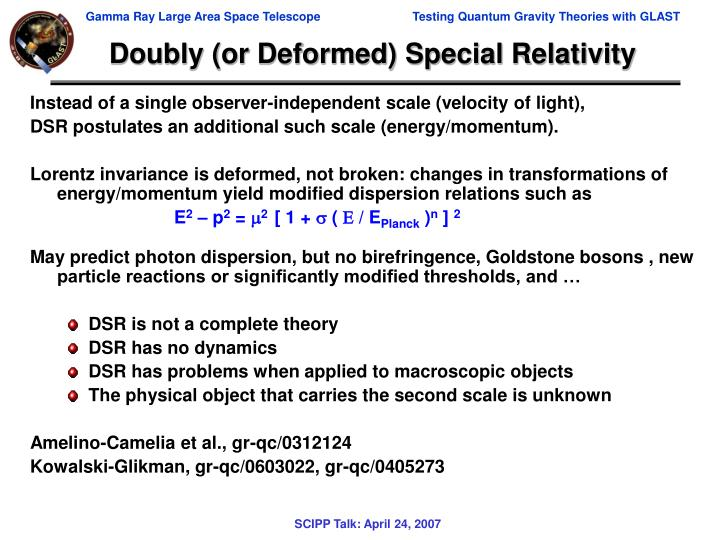 Doubly (or Deformed) Special Relativity