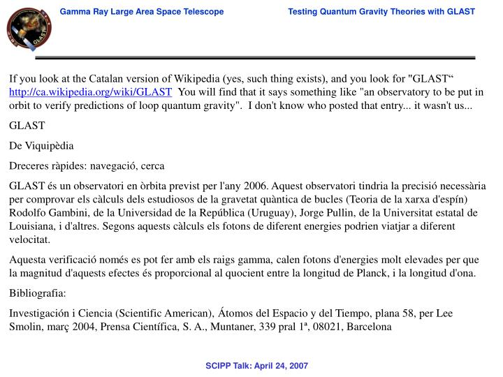 """If you look at the Catalan version of Wikipedia (yes, such thing exists), and you look for """"GLAST"""""""