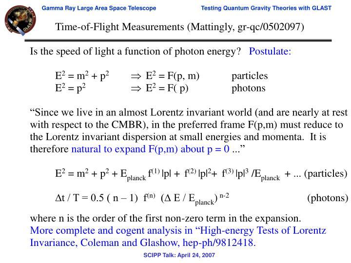 Time-of-Flight Measurements (Mattingly, gr-qc/0502097)