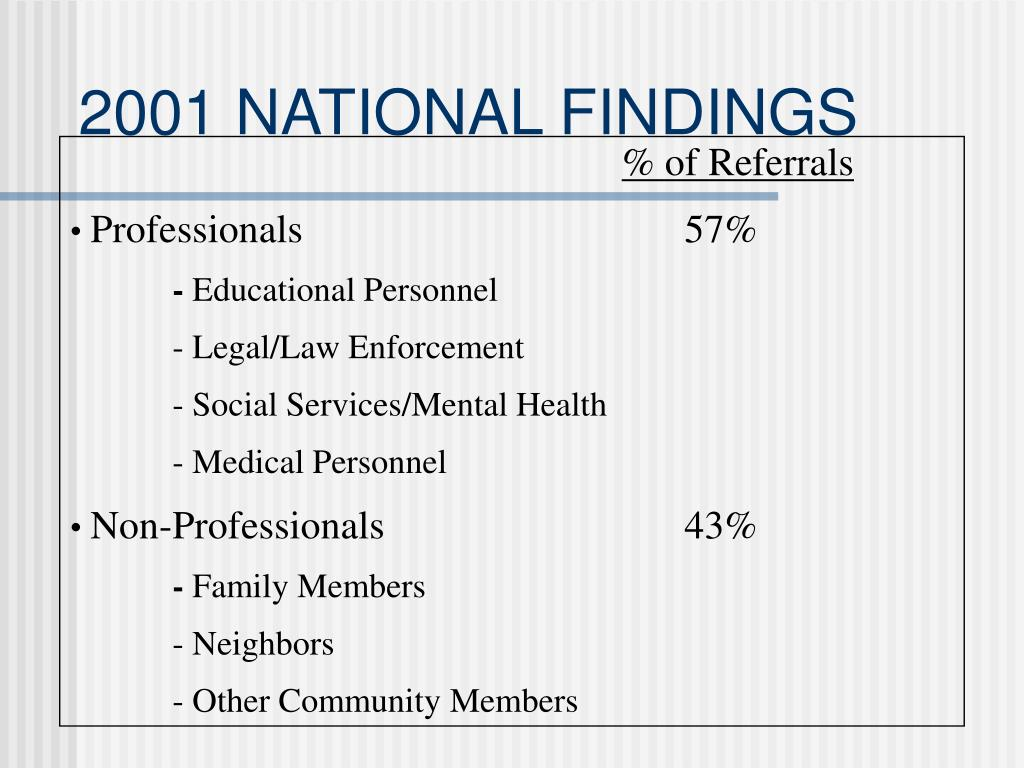 2001 NATIONAL FINDINGS