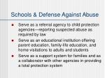 schools defense against abuse