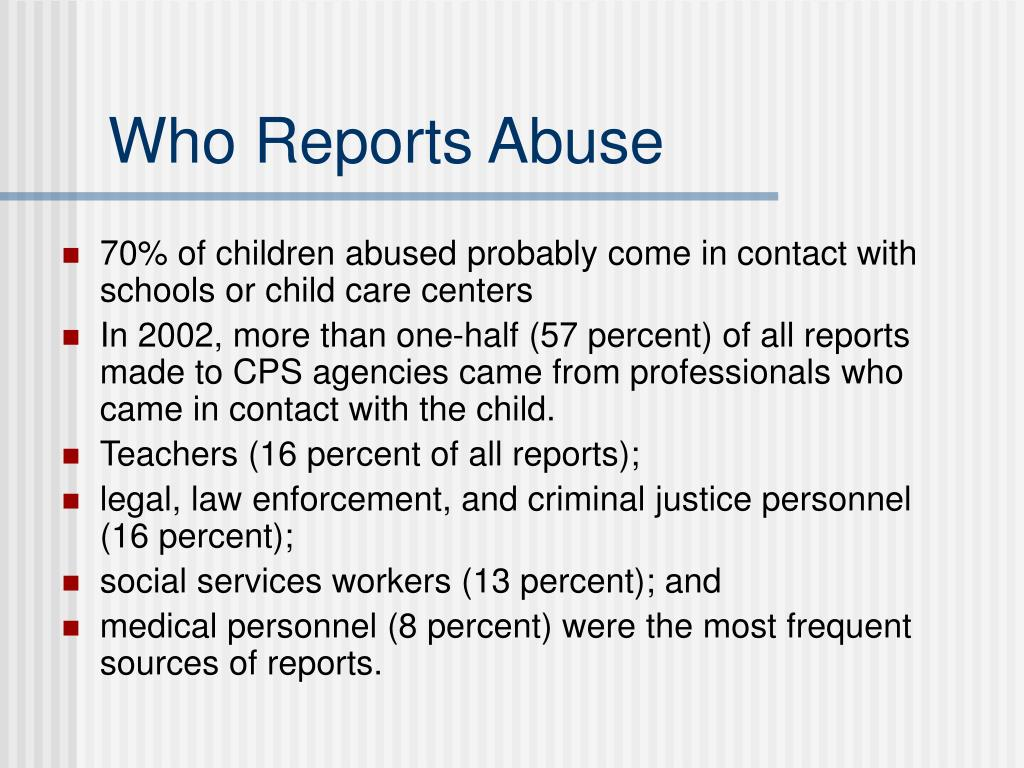 Who Reports Abuse