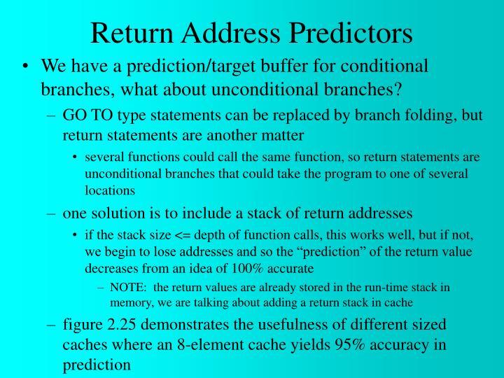 Return Address Predictors
