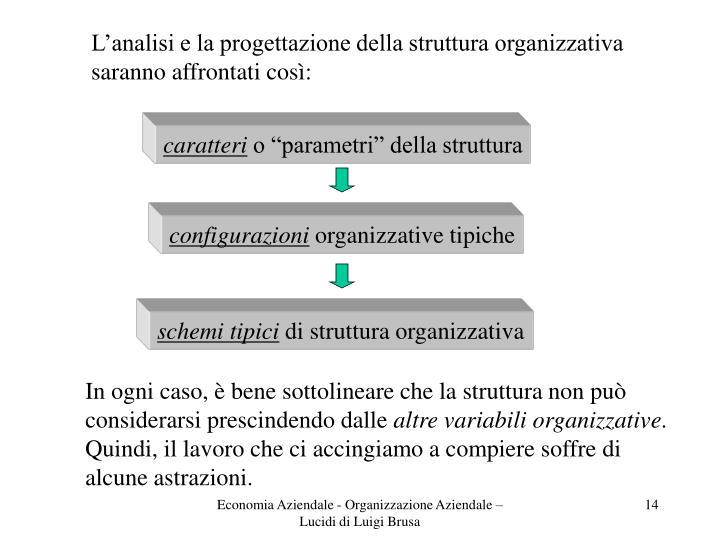 L'analisi e la progettazione della struttura organizzativa