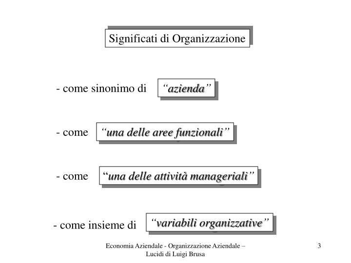 Significati di Organizzazione